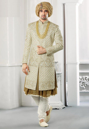Hand Embroidered Art Silk Sherwani in Pastel Green