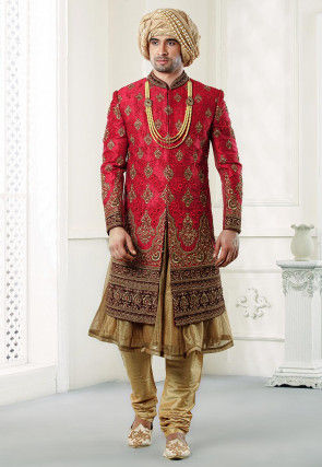 Hand Embroidered Art Silk Sherwani in Red
