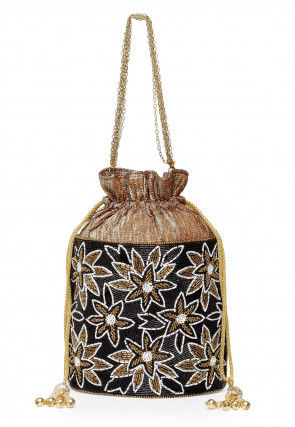 Hand Embroidered Art Silk Shimmer Polti Bag in Black