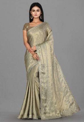 Hand Embroidered Art Silk Shimmer Saree in Grey