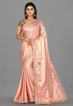 Hand Embroidered Art Silk Shimmer Saree in Old Rose