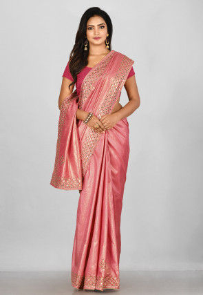 Hand Embroidered Art Silk Shimmer Saree in Pink
