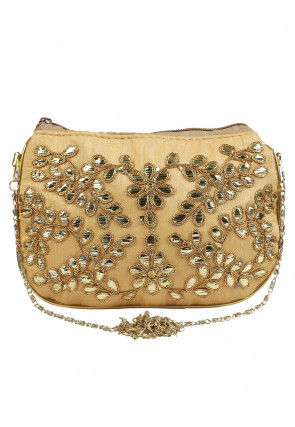 Hand Embroidered Art Silk Sling Bag in Beige