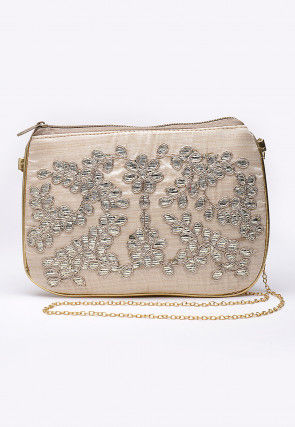 Hand Embroidered Art Silk Sling Bag in Off White