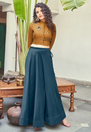 Hand Embroidered Art Silk Crop Top N Skirt in Mustard and Blue