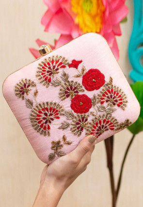 Hand Embroidered Art Silk Square Box Clutch Bag in Baby Pink
