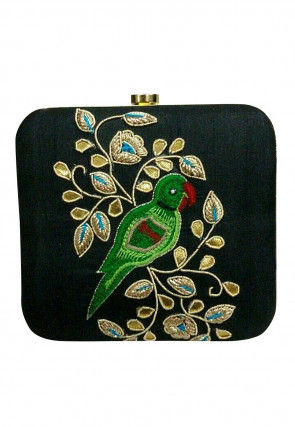 Hand Embroidered Art Silk Square Box Clutch Bag in Black