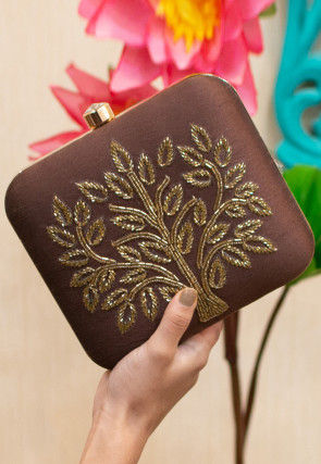 Hand Embroidered Art Silk Square Box Clutch Bag in Brown