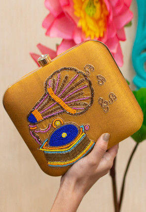 Hand Embroidered Art Silk Square Box Clutch Bag in Mustard