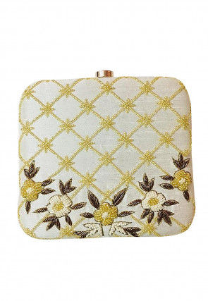 Hand Embroidered Art Silk Square Box Clutch Bag in Off White