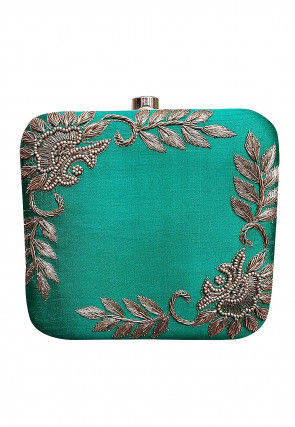 Hand Embroidered Art Silk Square Box Clutch Bag in Teal Green