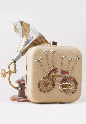 Hand Embroidered Art Silk Square Box Clutch in Light Beige