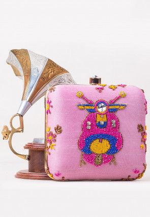 Hand Embroidered Art Silk Square Box Clutch in Pink
