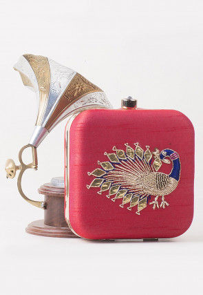 Hand Embroidered Art Silk Square Box Clutch in Red