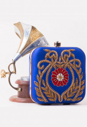 Hand Embroidered Art Silk Square Box Clutch in Royal Blue