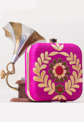 Hand Embroidered Art Silk Square Clutch Bag in Fuchsia