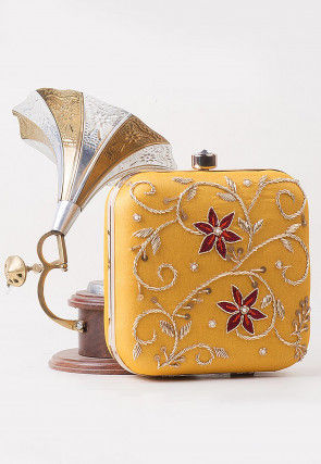 Hand Embroidered Art Silk Square Clutch Bag in Mustard Yellow