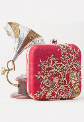 Hand Embroidered Art Silk Square Clutch Bag in Red