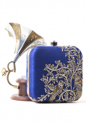 Hand Embroidered Art Silk Square Clutch Bag in Royal Blue