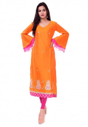 Hand Embroidered Art Silk Straight Kurta in Orange