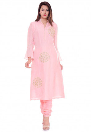 Hand Embroidered Art Silk Straight Kurta in Baby Pink