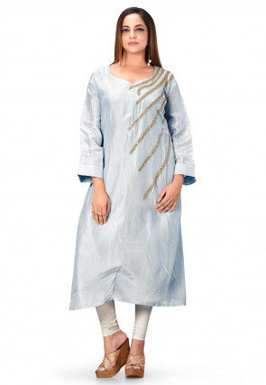 Hand Embroidered Art Silk Straight Kurta in Sky Blue