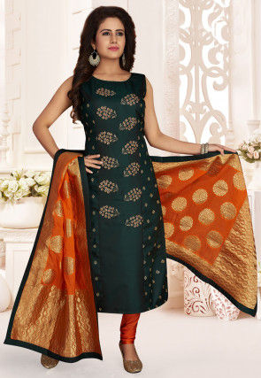 Hand Embroidered Art Silk Straight Suit in Dark Green