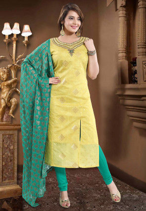 Hand Embroidered Art Silk Straight Suit in Light Yellow