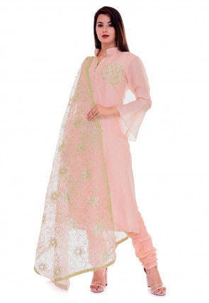 Hand Embroidered Art Silk Straight Suit in Pastel Peach