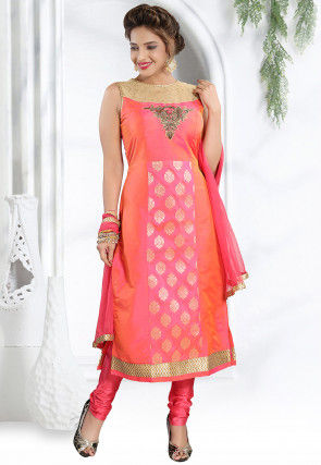 Hand Embroidered Art Silk Straight Suit in Pink and Orange