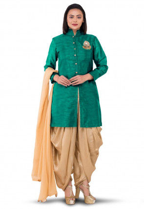 Hand Embroidered Bhagalpuri Silk Punjabi Suit in Teal Green