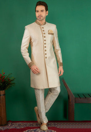 Hand Embroidered Brocade Sherwani in Light Beige