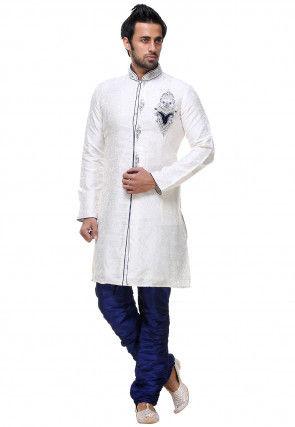 Hand Embroidered Brocade Sherwani in Off White