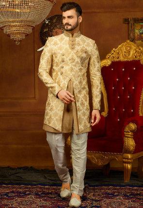 Hand Embroidered Brocade Sherwani Set in Beige and Golden