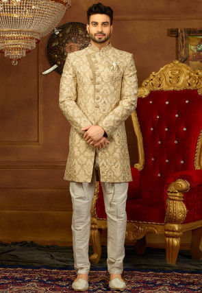 Hand Embroidered Brocade Sherwani Set in Beige and Golden