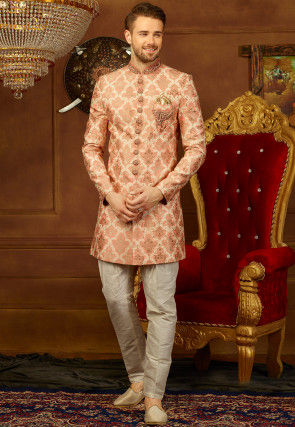 Hand Embroidered Brocade Sherwani Set in Peach
