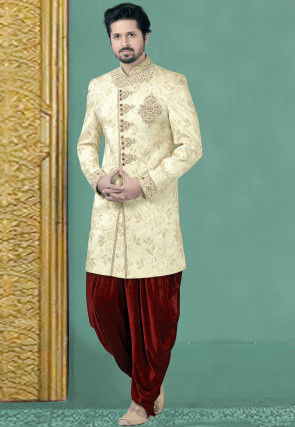 Hand Embroidered Brocade Silk Sherwani in Cream