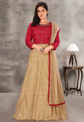 Hand Embroidered Chanderi Cotton Lehenga in Beige
