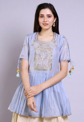 Hand Embroidered Chanderi Peplum Style Kurti in Pastel Blue