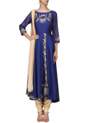 Hand Embroidered Chanderi Silk A Line Suit in Royal Blue