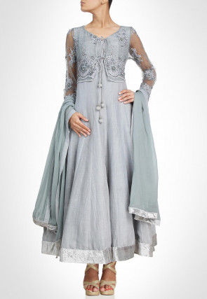 Hand Embroidered Chanderi Silk Abaya Style Suit in Light Grey