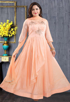 Hand Embroidered Chanderi Silk Abaya Style Suit in Peach