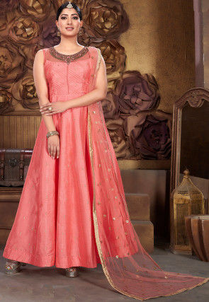 Hand Embroidered Chanderi Silk Abaya Style Suit in Pink