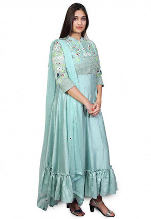 Hand Embroidered Chanderi Silk Anarkali Suit in Light Blue