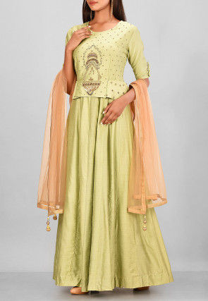 Hand Embroidered Chanderi Silk Gown in Light Green