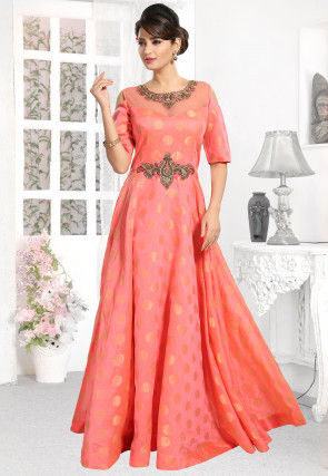 Hand Embroidered Chanderi Silk Jacquard Flared Gown in Pink