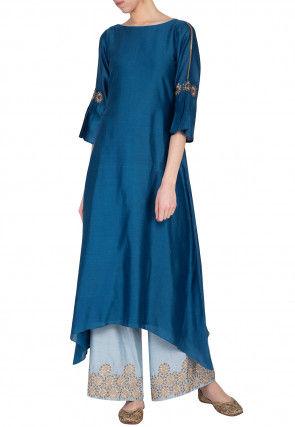 Hand Embroidered Chanderi Silk Kurta Set in Teal Blue