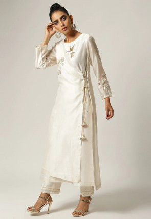 Hand Embroidered Chanderi Silk Layered Kurta Set in Off White