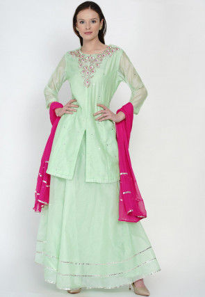Hand Embroidered Chanderi Silk Lehenga in Sea Green