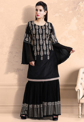 Hand Embroidered Chanderi Silk Pakistani Suit in Black